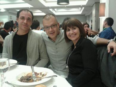 """Cena con Bruno Cardeñosa y Silvia Casasola de """"La Rosa de los Vientos"""" Onda Cero en las JPod13Madrid Nominados a los Premios Asociación Podcast, octubre de 2013"""
