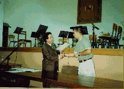 Con Enrique García Asensio en la entrega de diplomas del Curso de Dirección de Banda y Orquesta, Toledo, julio de 2000